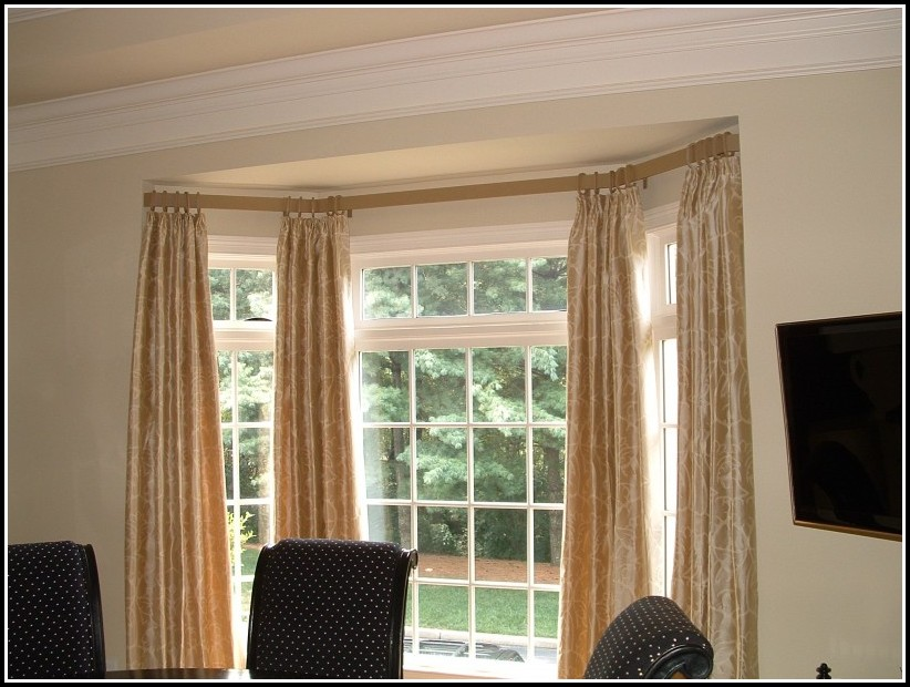 Bay Window Double Curtain Rods Curtains Home Design