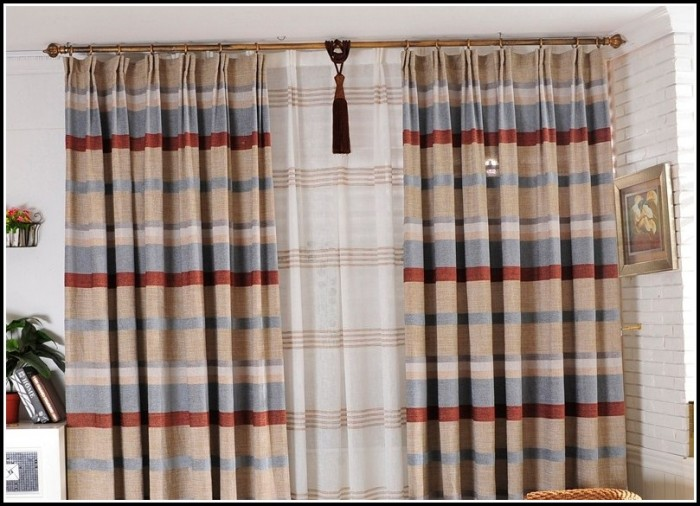 Beige And Red Shower Curtains