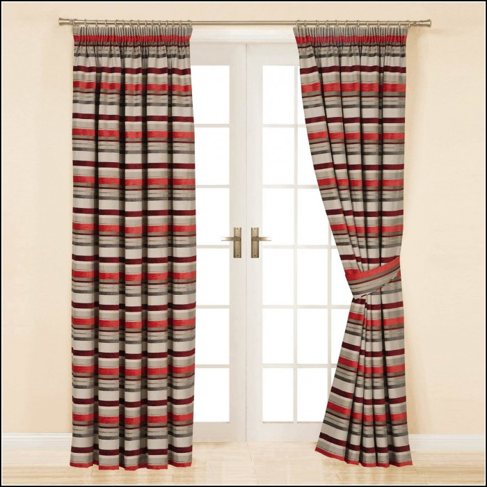 Beige And Red Striped Curtains