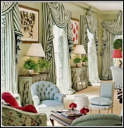 Black And Green Striped Curtains