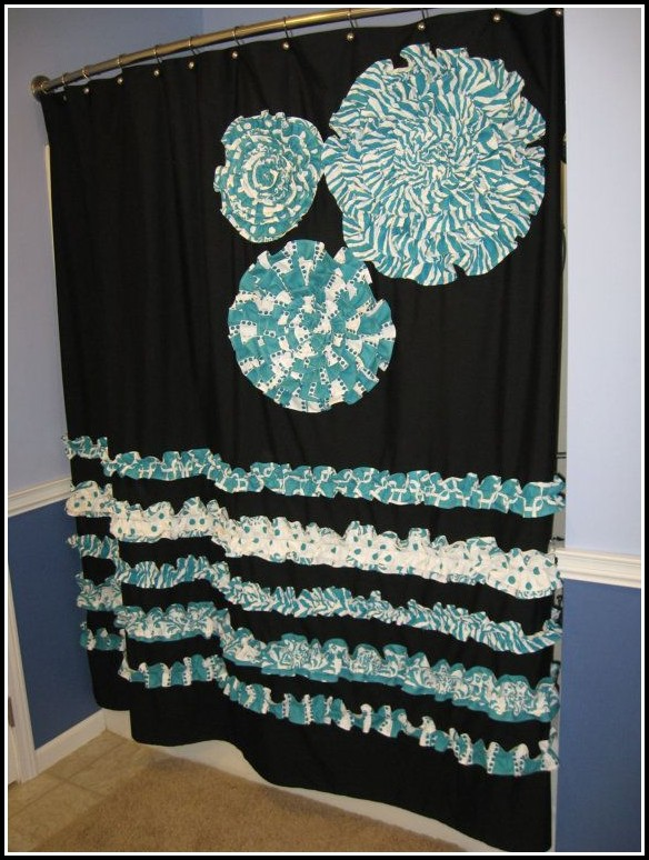 Black And Teal Shower Curtains