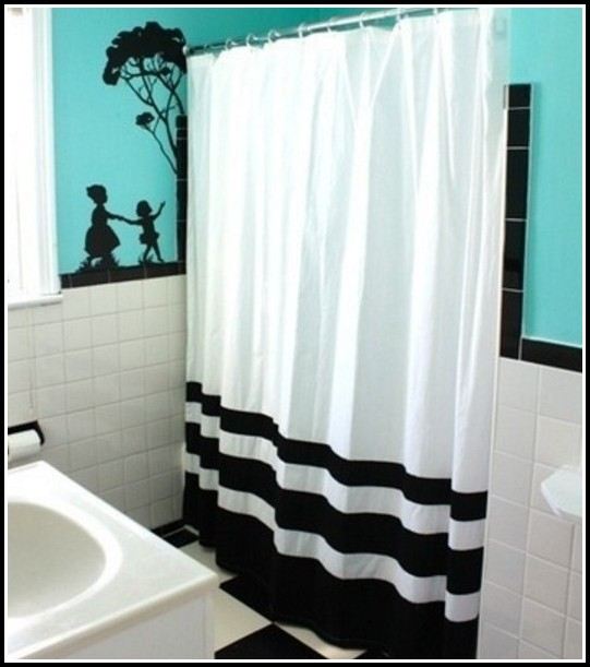 teal black and white curtains