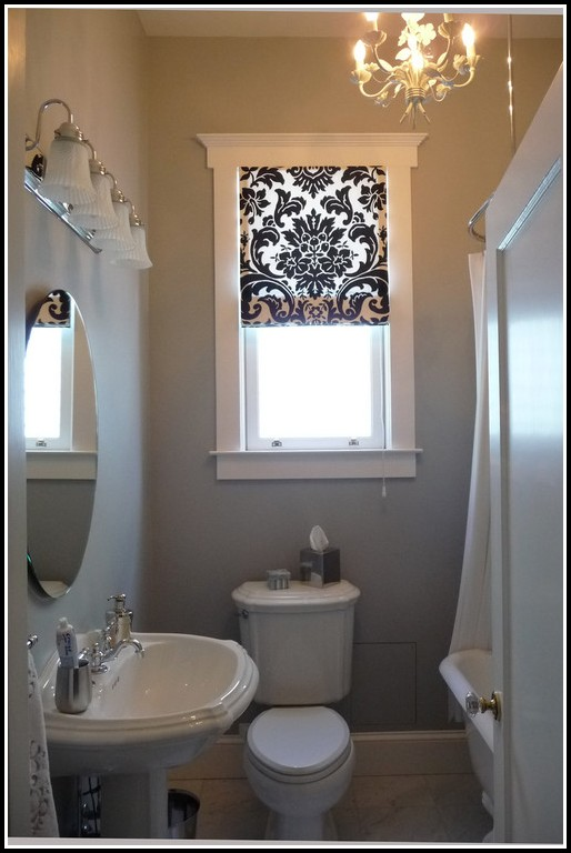 Blue And White Bathroom Window Curtains