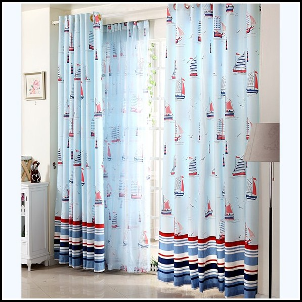 Blue And White Stripe Curtain Fabric Curtains Home