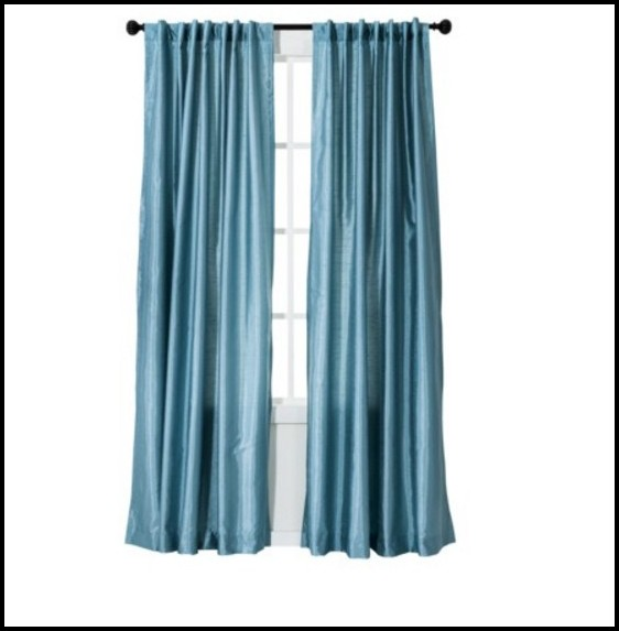 Blue Faux Silk Curtain Panels