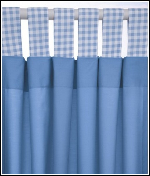 Blue Gingham Tab Top Curtains