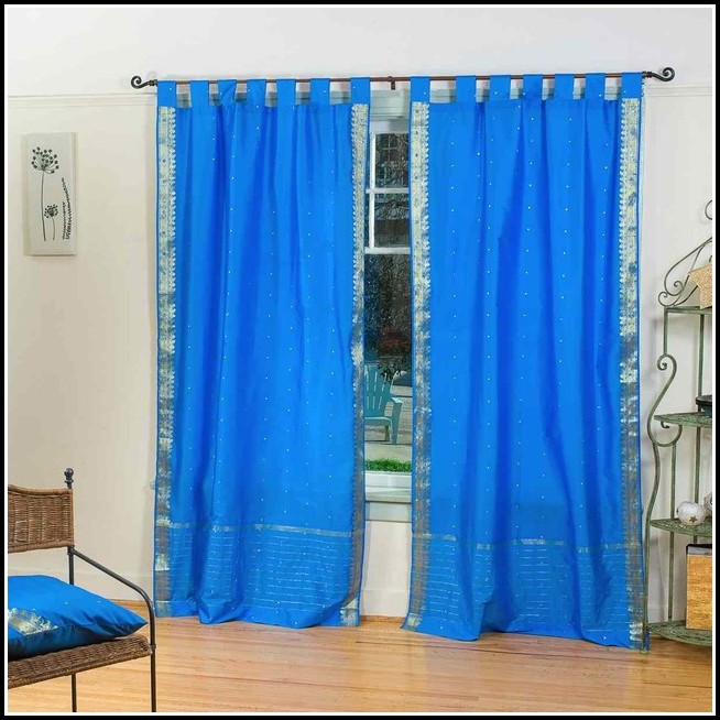 Blue Sheer Tab Top Curtains