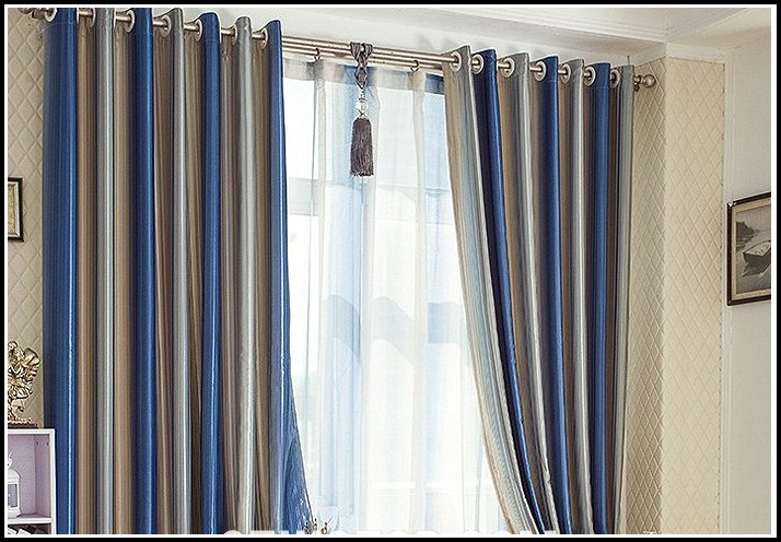 Brown And Blue Striped Window Curtains