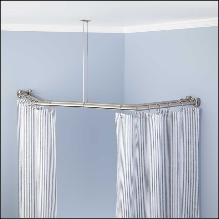 Brushed Nickel Straight Double Shower Curtain Rod Curtains Home Design Ideas 25doxy5qer34473
