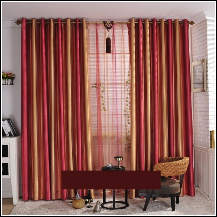 Gold And Red Striped Curtains