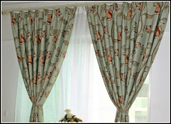 Green And Black Floral Curtains