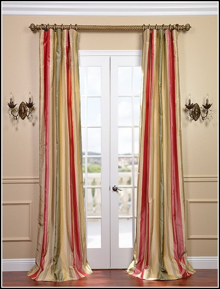 Green And Gold Striped Curtains