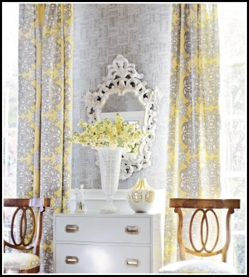 Grey And Yellow Curtain Material