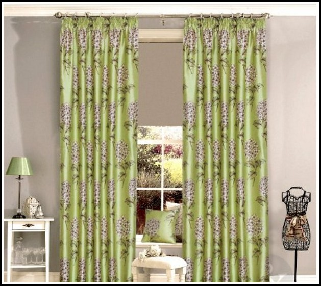 Hunter Green Kitchen Curtains: Olive Green Faux Silk Curtains