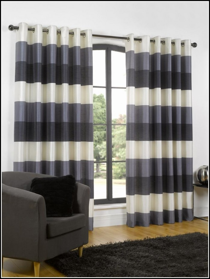 Light Blue And White Horizontal Striped Curtains