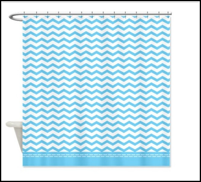 Light Blue Chevron Shower Curtain