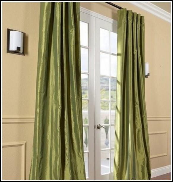 Dark Green Faux Silk Curtains Curtains Home Design