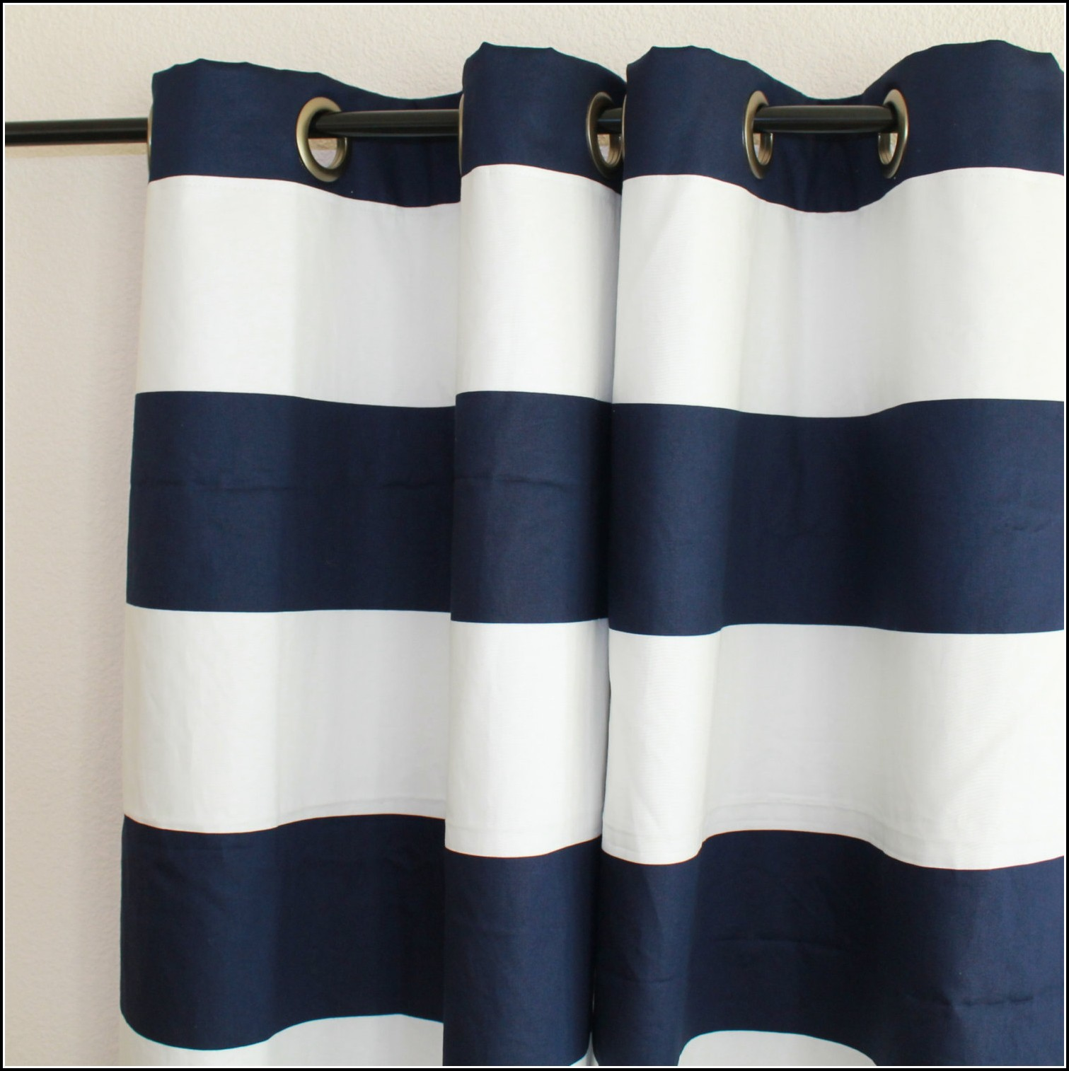 Navy And White Horizontal Stripe Curtain Panels Download