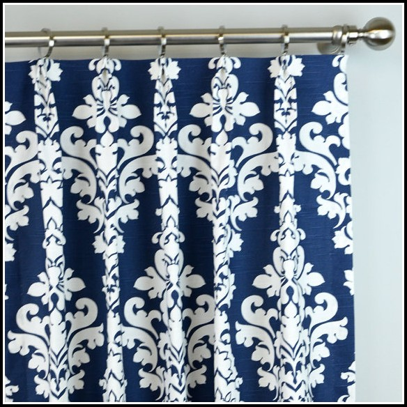 Navy Blue And White Damask Curtains