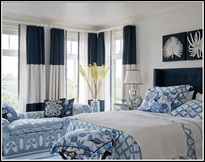 Navy Blue And White Striped Curtain Fabric
