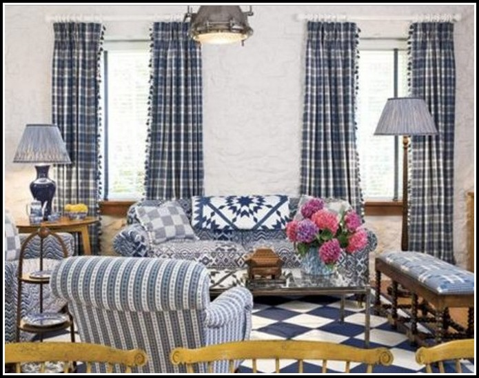 Navy Blue Check Kitchen Curtains