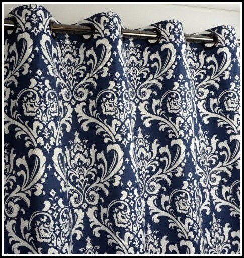 Navy Blue Damask Shower Curtain Curtains Home Design