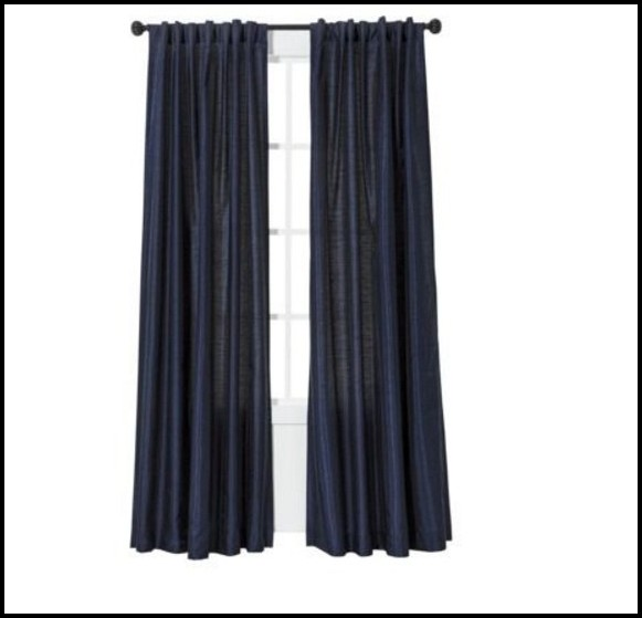 Navy Blue Faux Silk Curtains