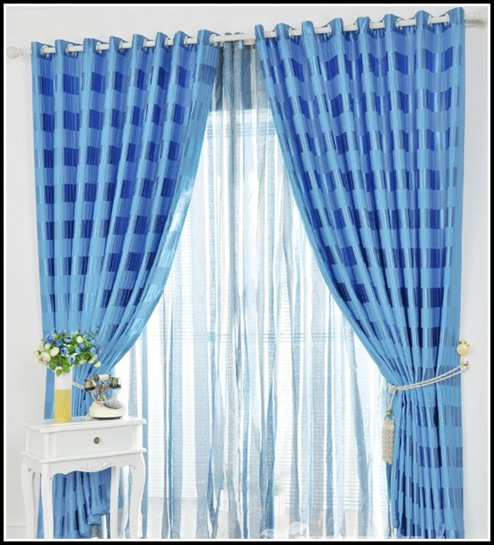 Navy Blue Gingham Kitchen Curtains