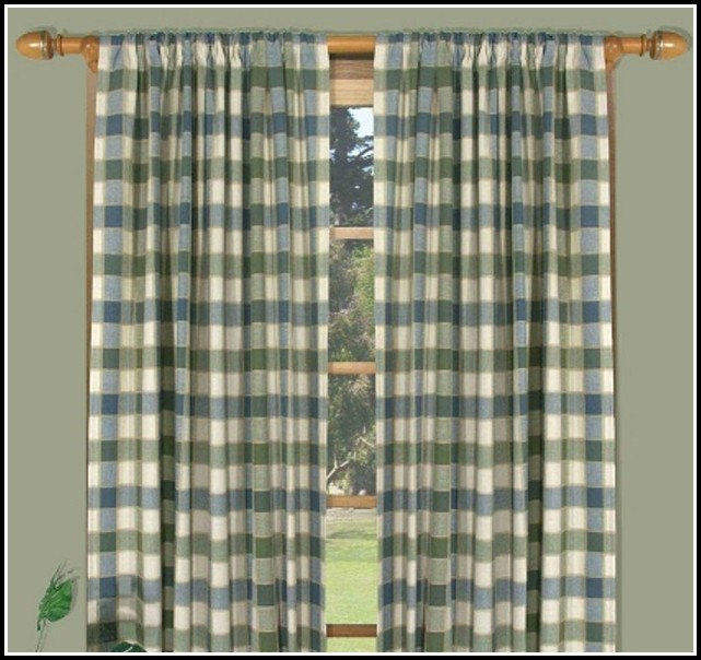 Navy Blue Plaid Kitchen Curtains