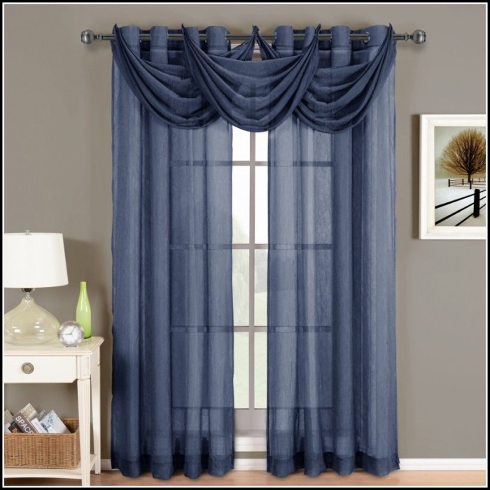 Navy Blue Sheer Panel Curtains