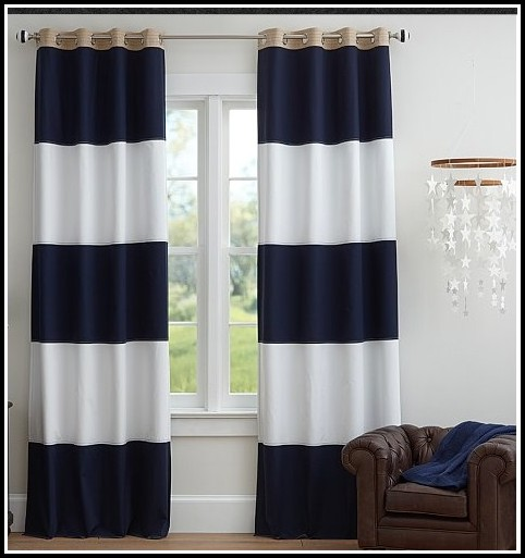 Navy Blue White Stripe Curtain