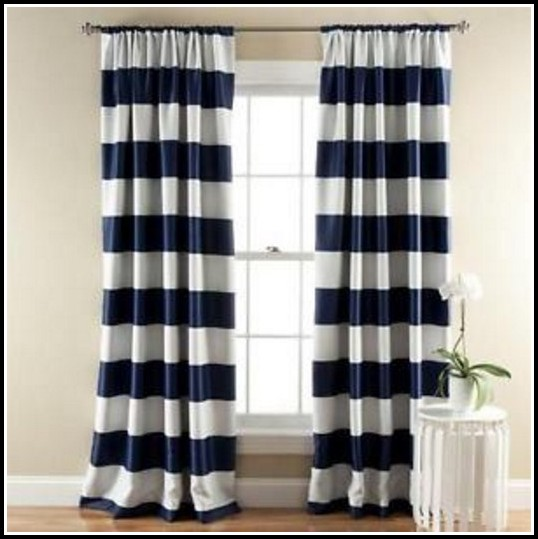 Navy White Striped Curtain Panels