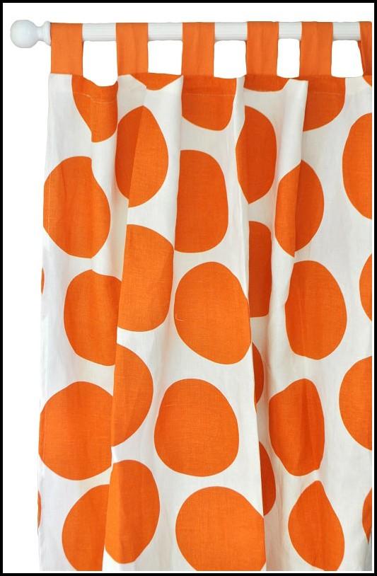 Orange Polka Dot Curtain Panels