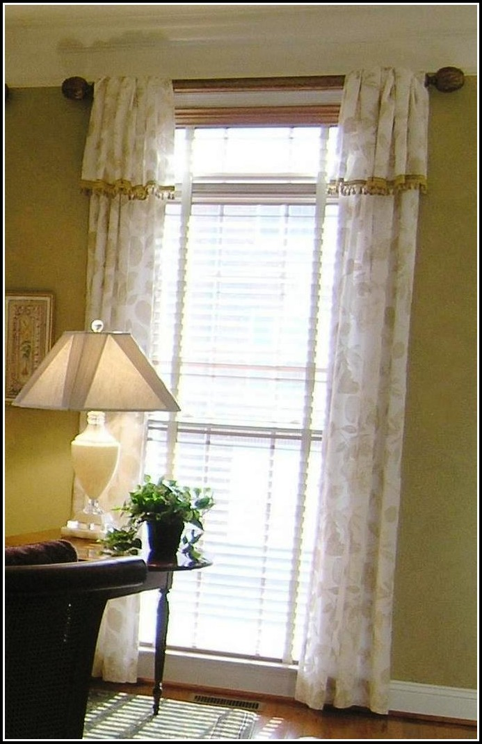 Outside Mount Wood Blinds With Curtains
