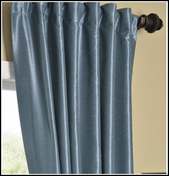 Pale Blue Faux Silk Curtains