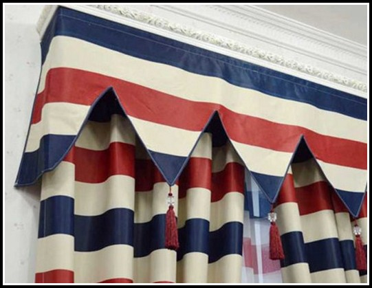 Red And Blue Stripe Tab Top Curtains