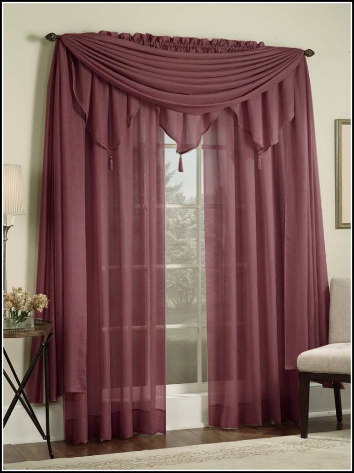 Red Sheer Tab Top Curtains