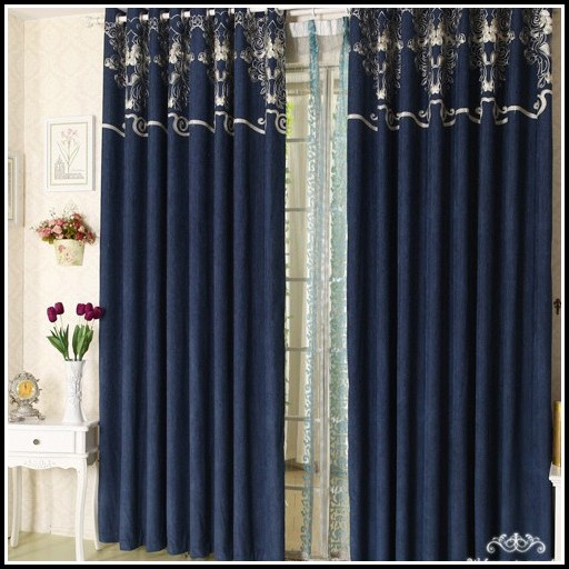 Royal Blue And Black Curtains