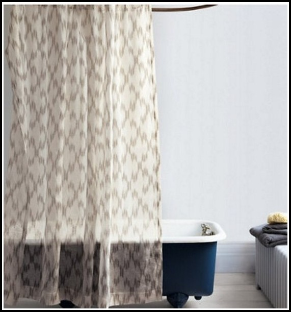 Sheer White Linen Shower Curtain