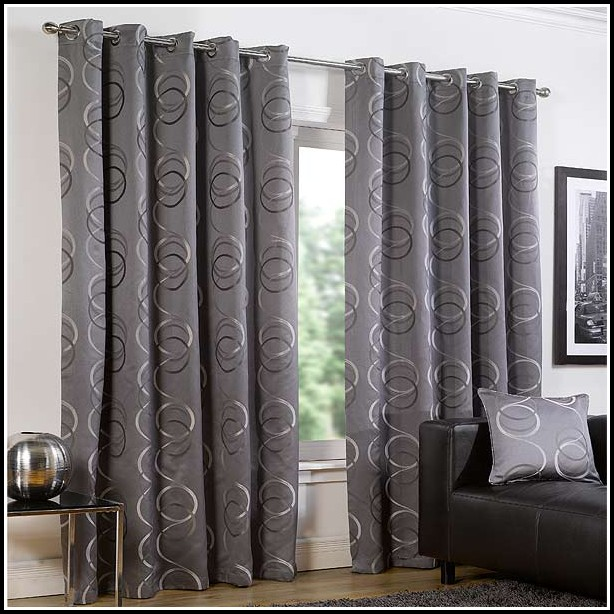 Silver And Black Eyelet Curtains