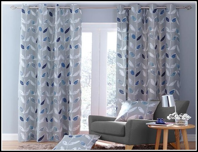 White Curtains With Blue Pattern