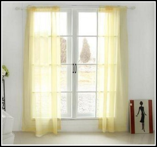 Yellow Sheer Rod Pocket Curtains
