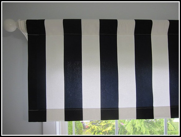 Blue Curtains With Attached Valance