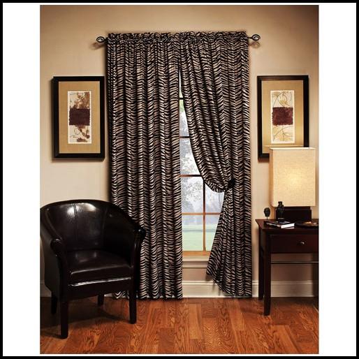 Brown Zebra Print Window Curtains