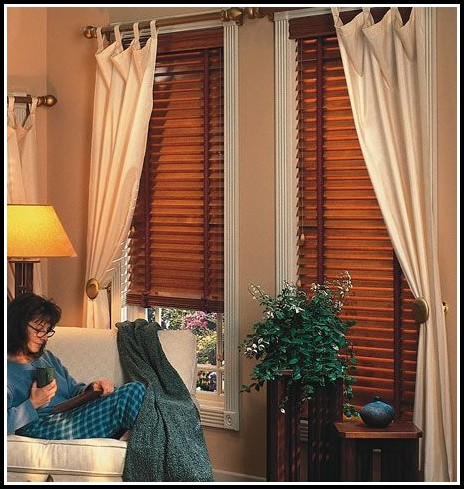 Curtains Over White Wood Blinds