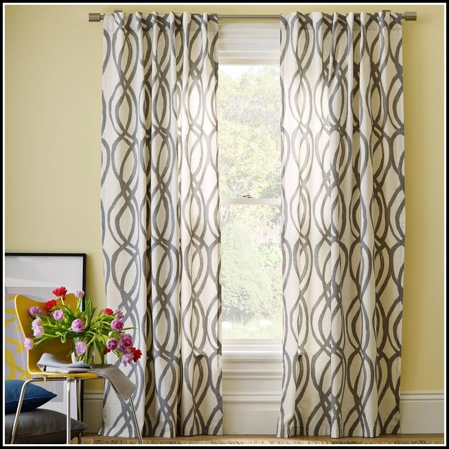 Gray And White Window Curtains