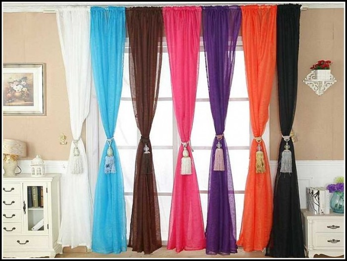 Multi Colored Striped Sheer Curtains