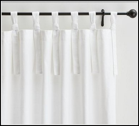 Tab Top White Linen Curtains