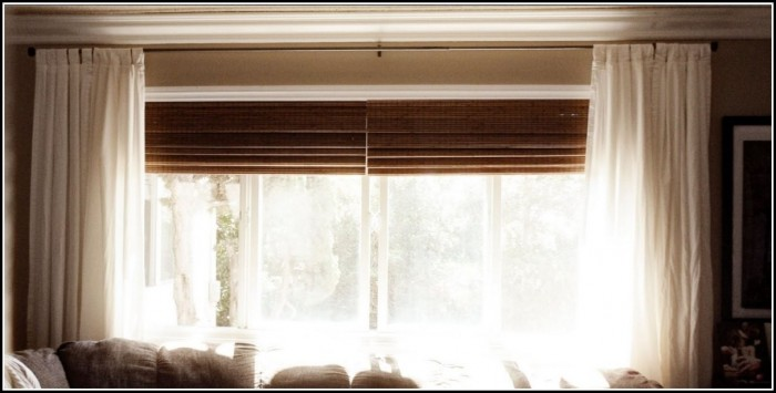 Window Curtains Over Wood Blinds