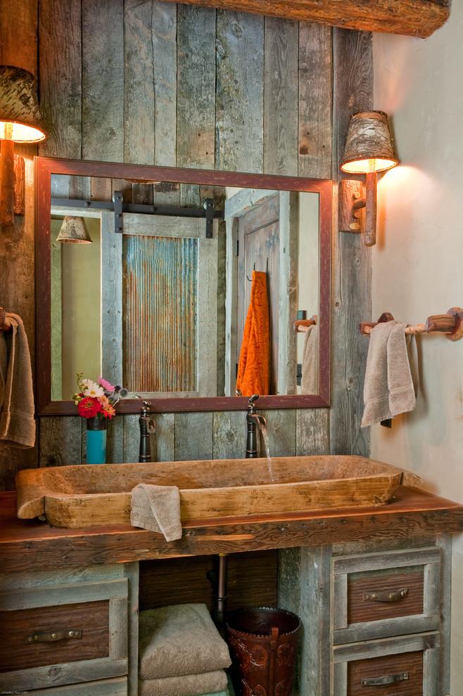 Rustic Wood Double Sink Vanity